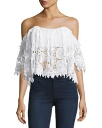 Tularosa Amelia Off The Shoulder Lace Crop Top White