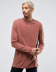 Asos Longline Long Sleeve T Shirt With Pigment Wash Rust Red