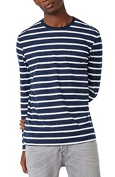 Topman Men's Stripe Slim Fit Long Sleeve T Shirt Dark Blue Multi