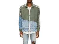 Greg Lauren Cotton Terry And Denim Track Jacket Olive