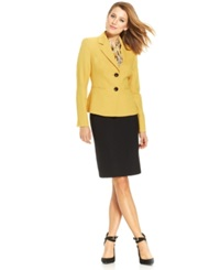 Le Suit Contrast Blazer Skirt Suit With Scarf