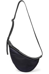 The Row Slouchy Banana Small Leather Trimmed Shell Shoulder Bag Navy