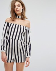 Influence Playsuit With Choker Neck Black White