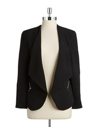 Dex Zipper Open Front Blazer Black