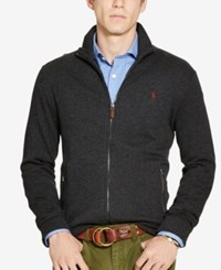 Polo Ralph Lauren Men's Jacquard Fleece Shawl Cardigan Charcoal Heather Grey