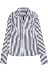Michael Kors Collection Striped Stretch Cotton Blend Poplin Shirt White