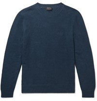 A.P.C. Micka Logo Embroidered Textured Cotton Blend Sweater Navy