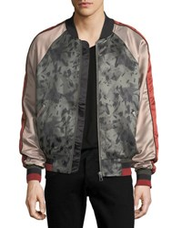 Eleven Paris Silk Printed Satin Bomber Jacket Forest