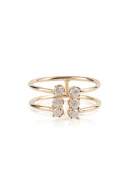 Loren Stewart White Diamond And Yellow Gold Double Band Ring