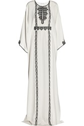 Oscar De La Renta Embroidered Silk Kaftan White