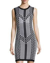Susana Monaco Sleeveless Geometric Print Knit Dress Black White
