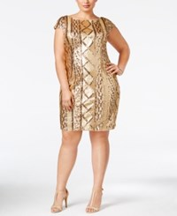 Adrianna Papell Plus Size Sequin Sheath Dress Gold