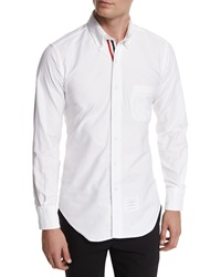 Thom Browne Long Sleeve Cotton Oxford Shirt White