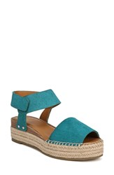 Franco Sarto By Oak Genuine Calf Hair Platform Wedge Espadrille Aruba Green Calf Hair