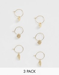 Monki Mini Drop Hoops 3 Pack In Gold