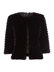 Therapy Kira Cropped Faux Fur Jacket Black