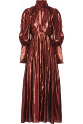 Ellery The Contained Silk Blend Lame Midi Dress Copper