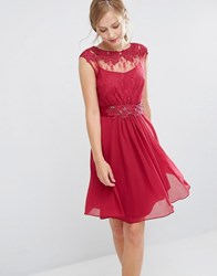 Coast Lori May Lace Dress Mulberry Red