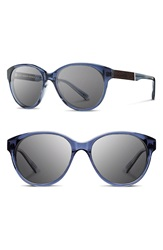 Shwood 'Madison' 54Mm Round Sunglasses Blue Crystal Ebony Grey