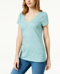 Maison Jules Polka Dot V Neck T Shirt Created For Macy's Silver Sage Combo