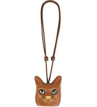 Loewe Cat Face Leather Necklace Tan