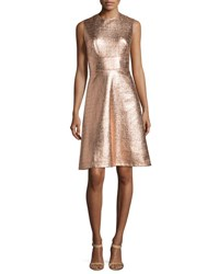 Lela Rose Metallic Tweed Print A Line Dress Copper