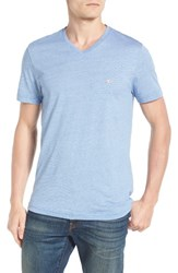 Lacoste Men's Stripe V Neck T Shirt Thermal Blue White