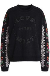 Needle And Thread Embroidered Cotton Blend Sweatshirt Black