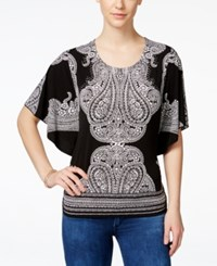 Jm Collection Embellished Butterfly Sleeve Blouse Only At Macy's Black