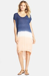 Fraiche By J Tie Dye High Low Wedge Dress Blue White