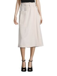 Bottega Veneta Wool Belted Skirt Ivory