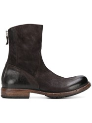 Moma Rear Zip Ankle Boots Brown