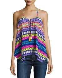 Alice And Trixie Lila Geometric Print Silk Top Multi