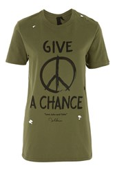 Topshop 'Give Peace A Chance' T Shirt By And Finally Khaki