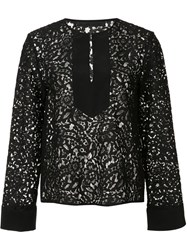 Jenni Kayne Front Placket Lace Blouse Black