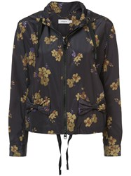 Coach Forest Floral Print Hoodie Blue