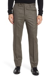 Berle Flat Front Stretch Houndstooth Wool Trousers Tan