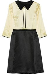 Marc Jacobs Two Tone Silk Satin Dress Pastel Yellow