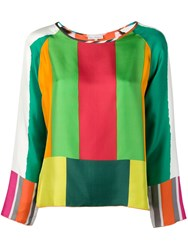 Pierre Louis Mascia Stripe Pattern Blouse Green