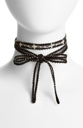 Chan Luu Women's Beaded Chiffon Choker Black Cream