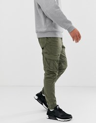 Blend Of America Slim Fit Cuffed Cargo Trouser In Khaki Green