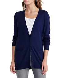 Lauren Ralph Lauren Stretch Cotton V Neck Cardigan Navy