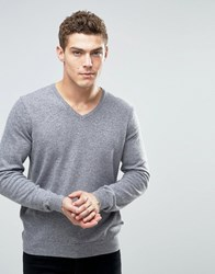 United Colors Of Benetton Merino Wool V Neck Jumper Mid Grey 507
