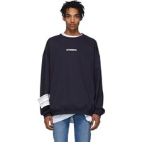 Vetements Navy Logo Sweatshirt