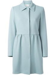 Red Valentino Peplum Coat Blue