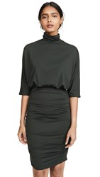 Susana Monaco Ruched Turtleneck Dolman Dress Caviar