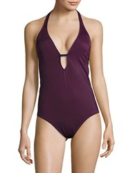 Nautica Solid Halter One Piece Swimsuit Berry