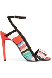 Pierre Hardy Leather Trimmed Printed Suede Sandals Multi