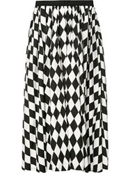 Tome Diamond Print Full Skirt Women Cotton 8 Black