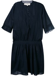 Vanessa Bruno Athe Short Sleeve Collarless Shirt Dress Women Cotton 36 Blue